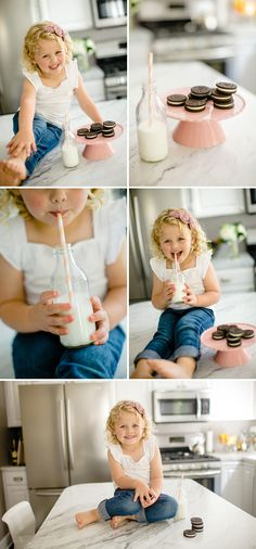 Milk & Cookies Shoot. Cutest photo session idea ever! Cheap prop ideas! Photoshoot  Inspiration. Child Photography ♥