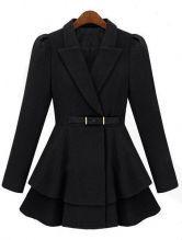 Black Lapel Puff Sleeve Drawstring Waist Tweed Coat