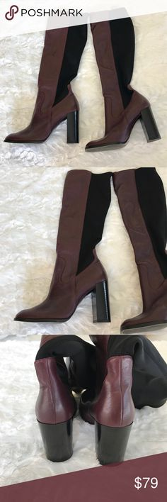 NWT Zara Tall Burgundy Heel Boots New with tag from Zara! Authentic leather tall boots with a block heel in a beautiful Burgundy/wine color. Super sexy and stylish, perfect for fall and winter! Marked size 36, but would best fit a size 5 Zara Shoes Heeled Boots