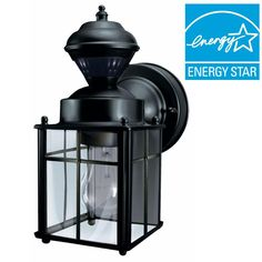 Hampton Bay Bayside Mission 150 Degree Black Motion-Sensing Outdoor Lantern