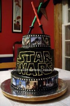 Homemade Star Wars Cake: This Star Wars Cake is 8 layers, 2 10 rounds for the base, 4 6 rounds for the middle and 2 4 rounds for the top. These are chocolate and I used white homemade