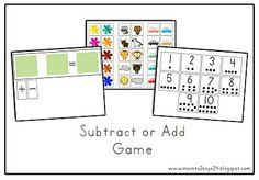 Subtract or Add Game - velcro would be nice on these. This was good in groups of 2. Do whole group, then have them practice with pairs. 1/13