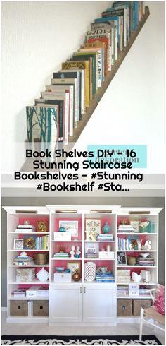 Book Shelves DIY - 16 Stunning Staircase Bookshelves - , Book Shelves DIY - 16 Stunning Staircase Bookshelves - See More at Ikea Shelves Bedroom, Ikea Shelf Hack, Ikea Billy Bookcase Hack, Closet Shelves, Storage Shelves, Wall Shelves, Billy Bookcases, Staircase Bookshelf, Bookshelves