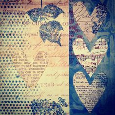 Stamped heart collage