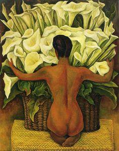Диего Ривера. Девушка у корзины с цветами