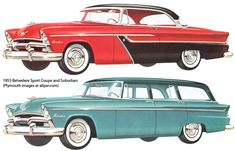 1955 Plymouth Vehicles, my dad had a black station wagon with a white top and red interior. Of course it had the white wall tires. Plymouth Belvedere, Plymouth Cars, Car Illustration, Illustrations, Red Interiors, Truck Camper, Old Ads, American Muscle Cars, Station Wagon
