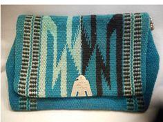 Vintage Turquoise Wool Chimayo Purse Circa 1930 -50's Silver Thunderbird Clasp  #Chimayo
