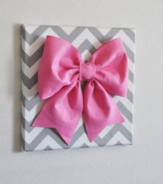 "Large Pink Bow on Gray and White Chevron 12 x12"" Canvas Wall Art- Baby Nursery Wall Decor"