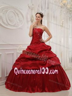 Customized Pick Ups Beaded Wine Red Quinceanera Dresses
