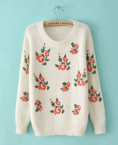 Casual Long-sleeved Rose Knitted Sweater | BlackFive
