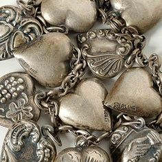 love these old sterling hearts. this reminds me of my mom's heart charm bracelet. I Love Heart, Key To My Heart, Happy Heart, Heart Art, Humble Heart, Vintage Silver, Antique Silver, Vintage Jewelry, Tarnished Silver
