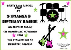 Rock Star party custom Invitation - by BellaGrey Designs Rock Star Baby Party Collection