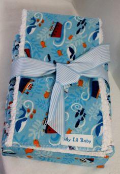 Baby Boy Sailboats Receiving Blanket Burp Cloth Gift by MyLilBaby, $25.00 https://www.etsy.com/shop/MyLilBaby?ref=si_shop