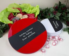 Create custom tins perfect for cookie swaps or teacher gifts using Glass Chalkboard paint.