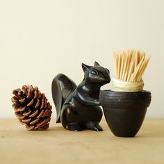 Autumn Squirrel Toothpick Holder  With Basket  Cast Iron  by vint