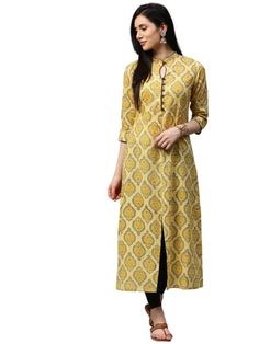 Yellow Booti Print A-line with Front Slit Cotton Kurta | Only on ygcreatives.wooplr.com | Best Kurtis and Suits Online