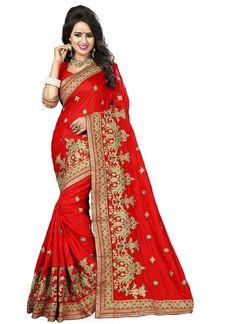 Red Silk Fancy Silk Saree