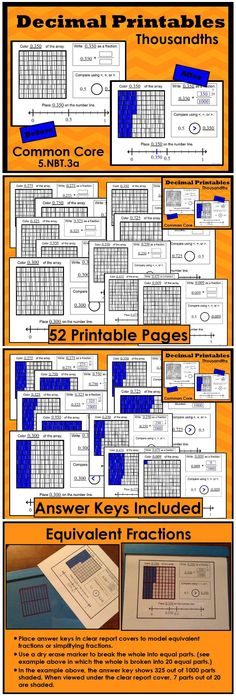 52 Common Core printables featuring decimal in the thousandths. Students write decimals as fractions and find equivalent fractions using the visual model. Students compare decimals to one half by reasoning about the size. $