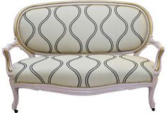 Antique French Victorian Settee on OneKingsLane.com - another example of modern fabric on antique love seat