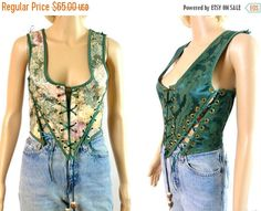 tEMPSALE Reversible Corset, Brocade Lace Up Bustier Top Wench Renaissance Clothing Costume Vest Cincher Under Bust Small Cosplay Peasant Fes