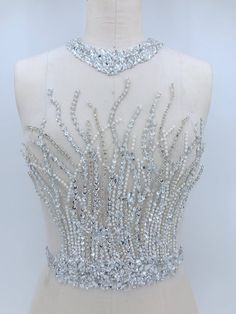 Bridal dress full applique Vintage wedding gowns Antique designed bridal tops, Acrylic applique Hand beaded crystal bodice with neckline Bead Embroidery Patterns, Couture Embroidery, Embroidery Dress, Beaded Embroidery, Embroidery Designs, Embroidered Lace, Hand Embroidery, Applique Wedding Dress, Applique Dress