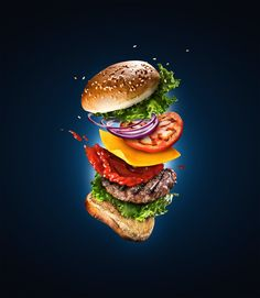 In this food photography workshop, you will learn how to create a stunning composition of a burger in mid-air using an advanced technique for a believable high-end advertising result. Food Menu Design, Food Poster Design, Photography Workshops, Food Photography, Advertising Photography, Food Art, A Food, Burger Seasoning, Homemade Burgers