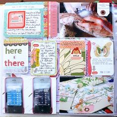 Love the shipping tags on photos, with stitching on them.  Michelle is so good at decorating her 3x4 grid journaling cards.