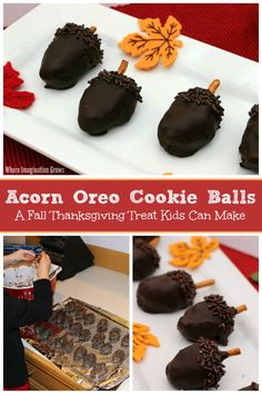 Make these yummy Acorn OREO Cookie Balls for Thanksgiving! Simple holiday recipe that you can make with preschoolers! Easy cooking with kids idea for fall! Recipes Kids Can Make, Easy Holiday Recipes, Oreo Cookie Balls Recipe, Oreo Cookies, Chocolate Sprinkles, Melting Chocolate, Flavored Cream Cheeses, Cooking With Kids, Easy Cooking