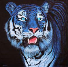 TIGRE BLEU FOND NOIR - HELMUT KOLLER (NÉ EN 1954) Acrylique sur toile, signé 135 x 135 cm