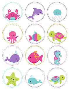 Items similar to Pink Girls Under the Sea Birthday- Personalized Printable Cupcake Toppers /Gift Favor Tags on Etsy Under The Sea Theme, Under The Sea Party, Diy And Crafts, Crafts For Kids, Paper Crafts, Girl Birthday Themes, Mermaid Birthday, Clipart, Cupcake Toppers