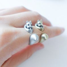 squirrel ring size 5 9 us by applelatte on Etsy