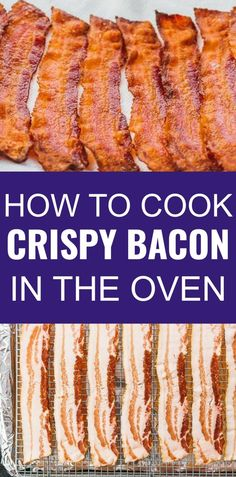 Click the pin to find the recipe, nutrition facts, cooking tips, & more photos for how to cook bacon in the oven perfectly every time! #lowcarb #keto #healthy If you're feeding for a crowd, baking bacon is the best way, compared to cooking in a skillet pan on the stove, in the microwave, or on the grill. It's fast and you can get evenly crispy bacon with minimal effort. easy recipes / how to make / parchment paper / foil / baking sheet / ahead of time / low carb / gluten free / keto