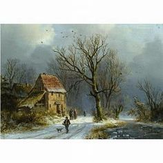 Winter in the Woods, oil on panel, by Dutch landscape painter Barend Cornelius Koekkoek, 1803-1862.