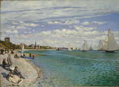 "https://www.facebook.com/Claude.Monet.MiaFeigelson.Gallery  ""Regatta at Sainte-Adresse"" (1867) By Claude Monet, from Paris (1840 - 1926) - oil on canvas; 75.2 x 101.6 cm; 29 5/8 x 40 in - Place of creation: Sainte-Adresse, a suburb of Le Havre, France © The Metropolitan Museum of Art, New York Bequest of William Church Osborn, 1951 http://www.metmuseum.org/ https://www.facebook.com/metmuseum"