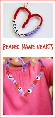 Beaded Name Hearts - I love how this simple valentine craft combines fine motor, math, and literacy!
