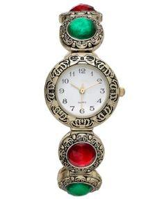 Charter Club Gold-Tone Red and Green Gem Bracelet Watch 27mm 18413G   macys.com