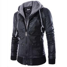 HOT Selling Men Motorcycle Black PU Leather Coats With Hooded Mens Slim Fit Jackets Men's Jackets & Coats