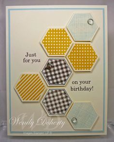 Hexagons are Masculine by Wdoherty - Cards and Paper Crafts at Splitcoaststampers Masculine Birthday Cards, Masculine Cards, Hexagon Cards, Stamping Up, Embossing Folder, It's Your Birthday, Stampin Up Cards, Thank You Cards, Cardmaking