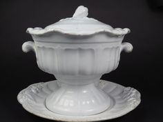 Antique J.Edward's President Shape White Ironstone Soup Tureen 3 Pieces!  offered on ebay for $270