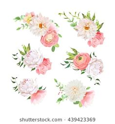 Small summer bouquets of rose, peony, ranunculus, dahlia, carnation, green plants. Vector design set. All elements are isolated and editable.
