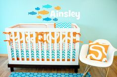 Hey, I found this really awesome Etsy listing at https://www.etsy.com/listing/166991321/crib-bedding-baby-bedding-aqua-orange