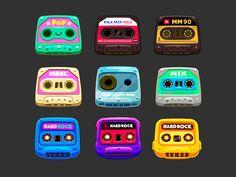 Cassettes cósmicos by Juan Casini Flat Illustration, Graphic Design Illustration, Game Concept, Concept Art, Game Design, Icon Design, Game Character, Character Design, Ios Icon