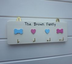 personalised key and dog lead hook by Siop Gardd