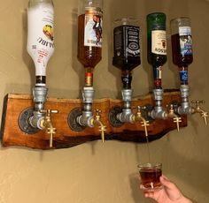 Diy Home Bar, Diy Bar, Bars For Home, Diy Home Decor, Whiskey Dispenser, Alcohol Dispenser, Man Cave Room, Man Cave Home Bar, Diy Shoe Rack