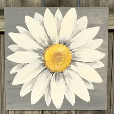 Gray and White Original Daisy Painting on a Wood by ClarabelleArte