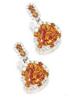 Mandarin Garnet And Diamond Pendant-Earclips Mounted In Platinum And 18k Gold, Samuel Getz Sotheby's