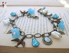 Vintage Charm Bracelet Pearls Rhinestones Flowers in Antiqued Brass Blue Skies - Bridesmaid gifts (*Amazon Partner-Link)
