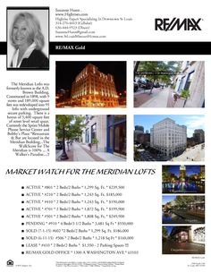The Meridian Market Watch As Of 10-11-15....This Vertical Neighborhood Is In The Center of The St Louis Loft District....Just Blocks From **EVERYTHING** Call Suzanne Hunn For A Tour ..... 314-276-4663 .... There Are a few Lofts Available To Purchase and only one to lease...!!!! www.Highrises.com