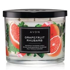 Fill your home with the sweet scent of AVON's Grapefruit and Rhubarb Candle. Shop this fruity scented candle to leave your home smelling delightful. 3 Wick Candles, Scented Candles, Fall Candles, Home Scents, Body Spray, Burning Candle, Glass Jars, Fragrance, Pie