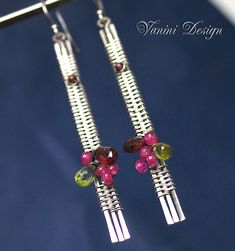 Juicy flavor-Fine/sterlong silver,garnet,ruby and peridot linear earrings | Flickr - Photo Sharing!